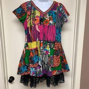 Funky Fun People Floral Tie-Dye Hippie Dress/Tunic